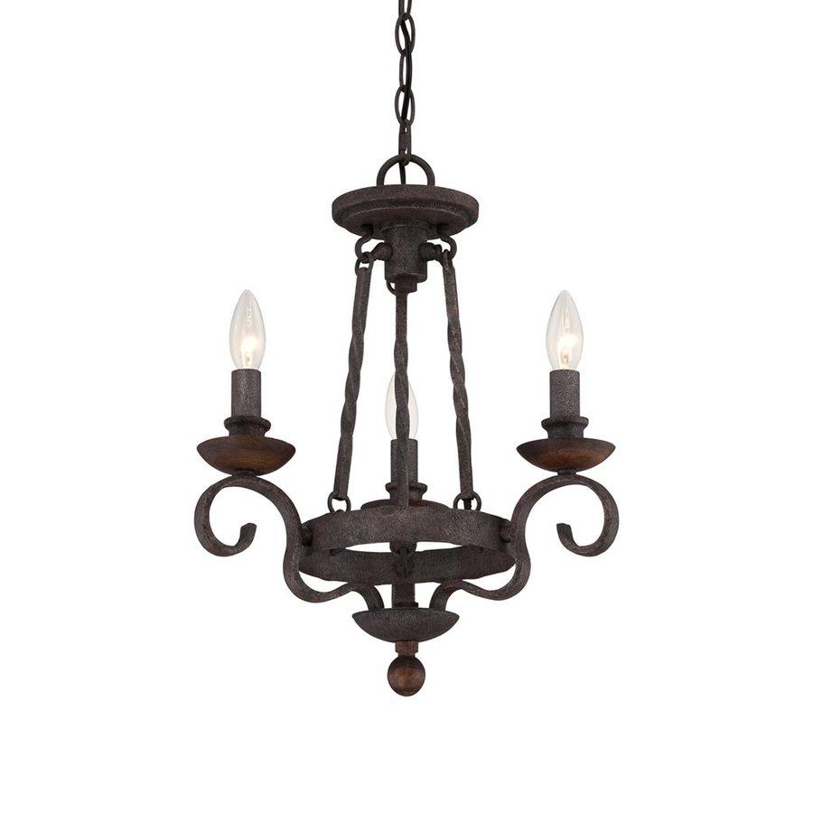 Quoizel Noble 15.5-in 3-Light Rustic Black Mediterranean Candle Chandelier