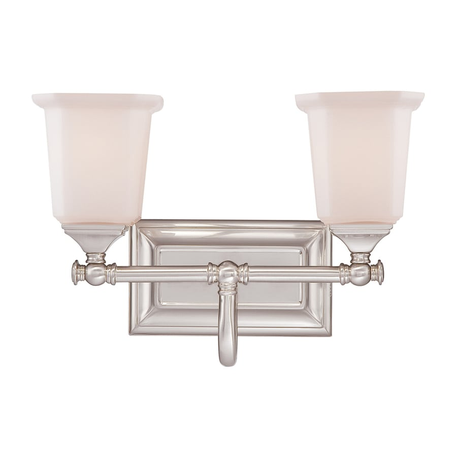 Quoizel Nicholas 2-Light Brushed Nickel Bell Vanity Light Bar