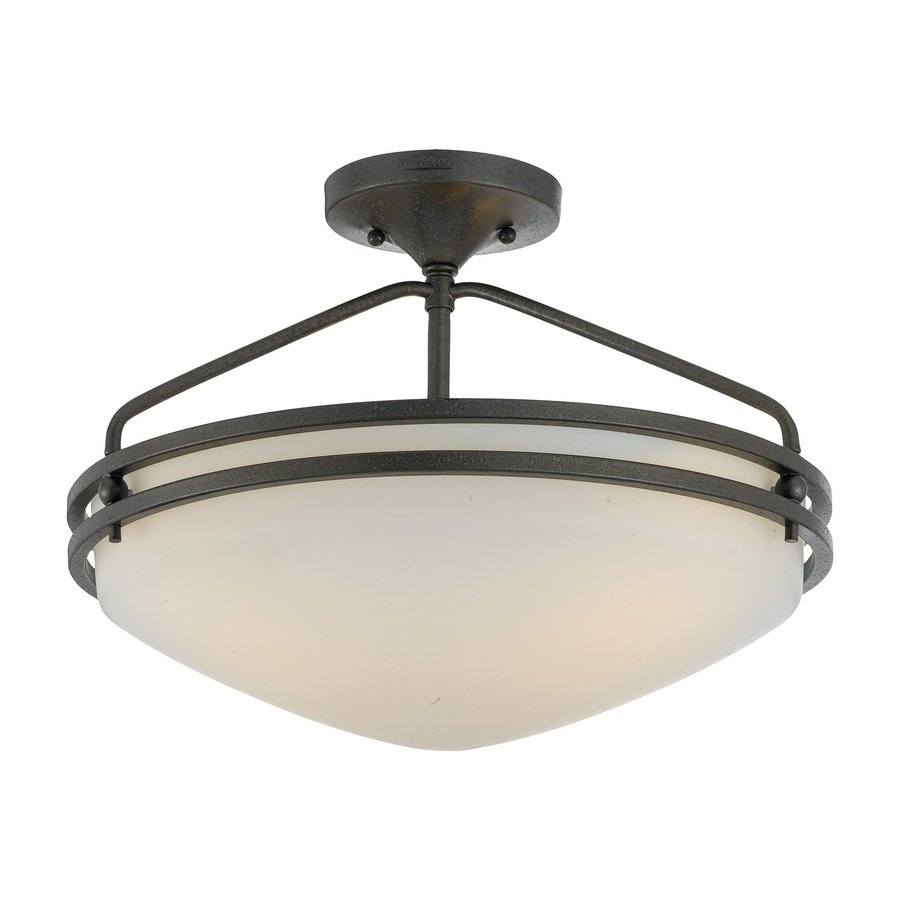 Quoizel Ozark 16.5-in W Iron Gate Etched Glass Semi-Flush Mount Light