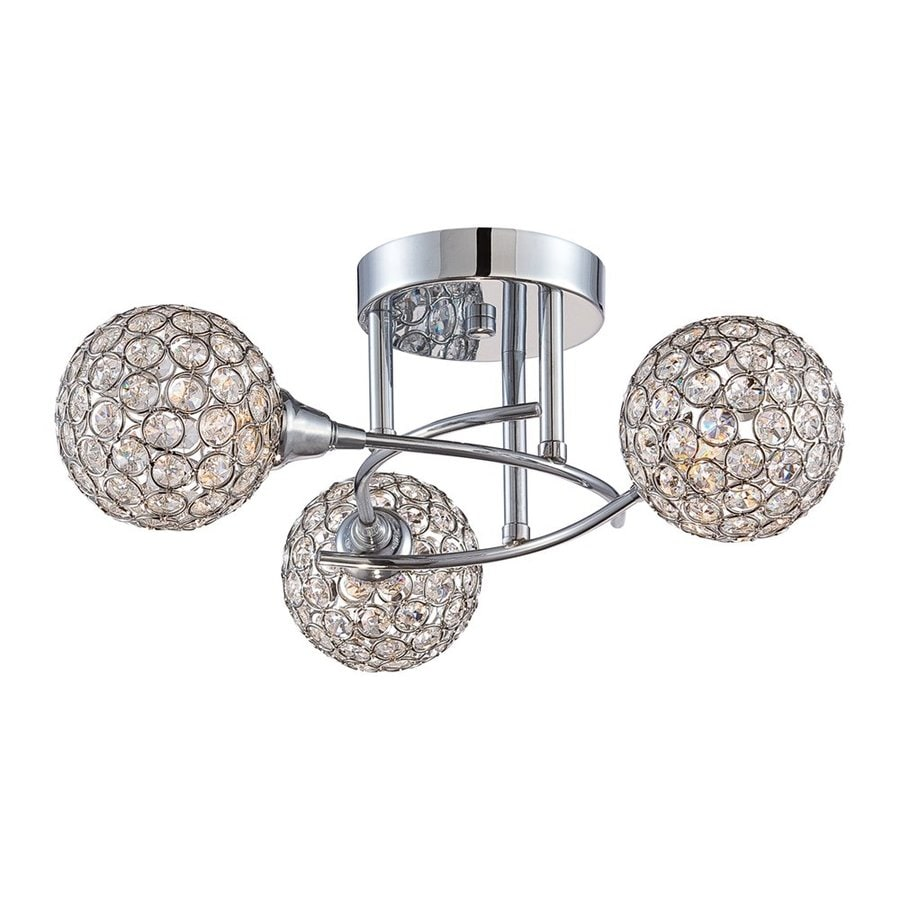 Quoizel Shimmer 18-in W Polished Chrome Crystal Crystal Accent Semi-Flush Mount Light