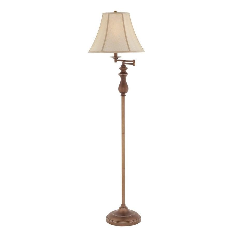 Quoizel 61-in Three-Way Palladian Bronze Indoor Floor Lamp with Fabric Shade