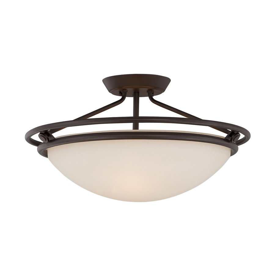 Quoizel 20-in W Western Bronze Frosted Glass Semi-Flush Mount Light