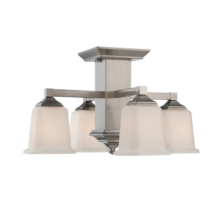 Quoizel Norwood 19-in W Brushed Nickel Etched Glass Semi-Flush Mount Light