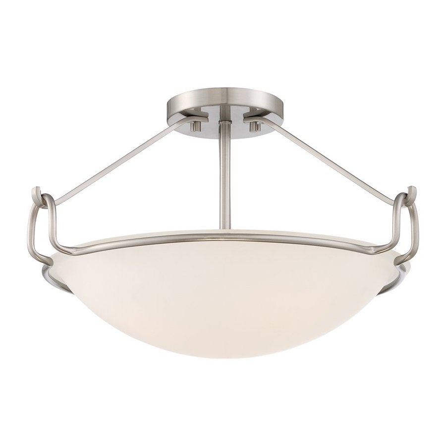 Quoizel Belcourt 18-in W Brushed Nickel Etched Glass Semi-Flush Mount Light