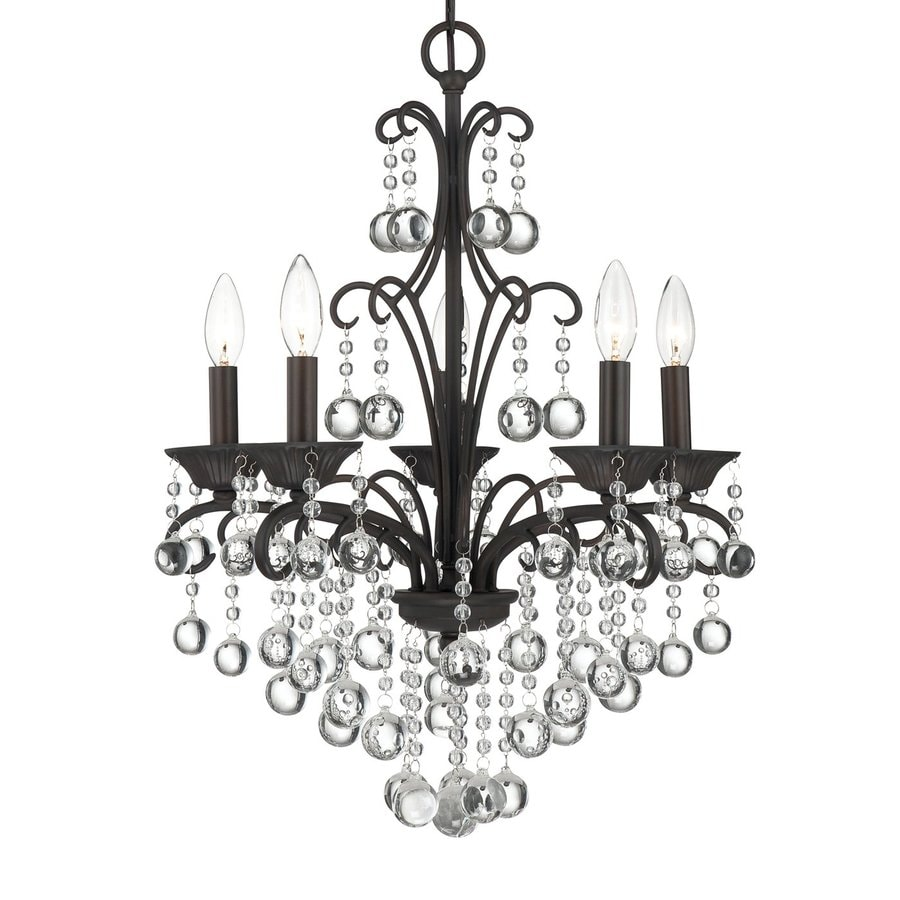 Quoizel Carrabelle 18-in 5-Light French Bronze Crystal Draped Chandelier