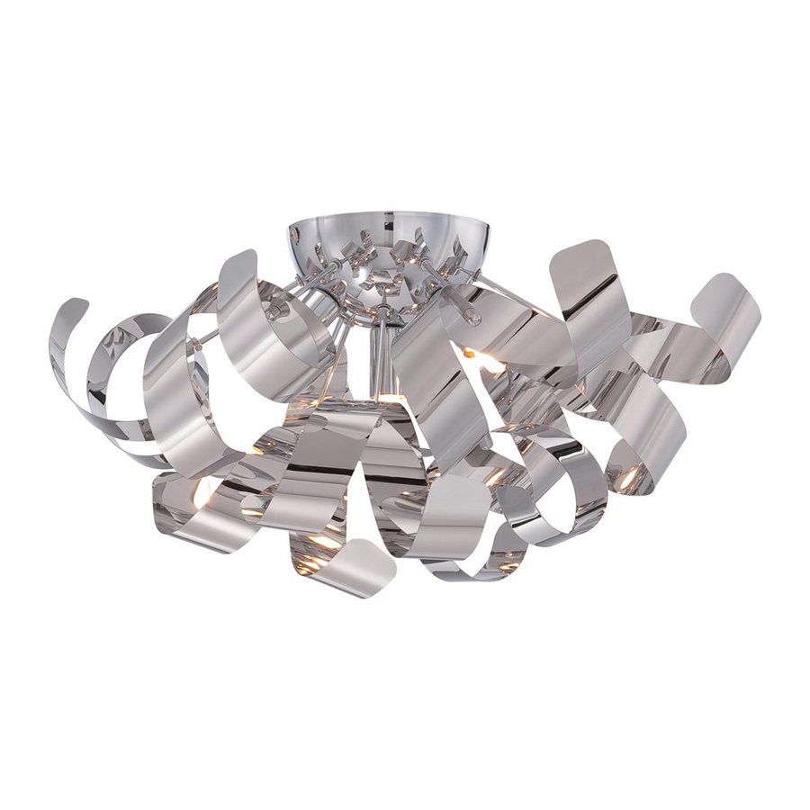Quoizel Ribbons 16.5-in W Polished Chrome Metal Semi-Flush Mount Light