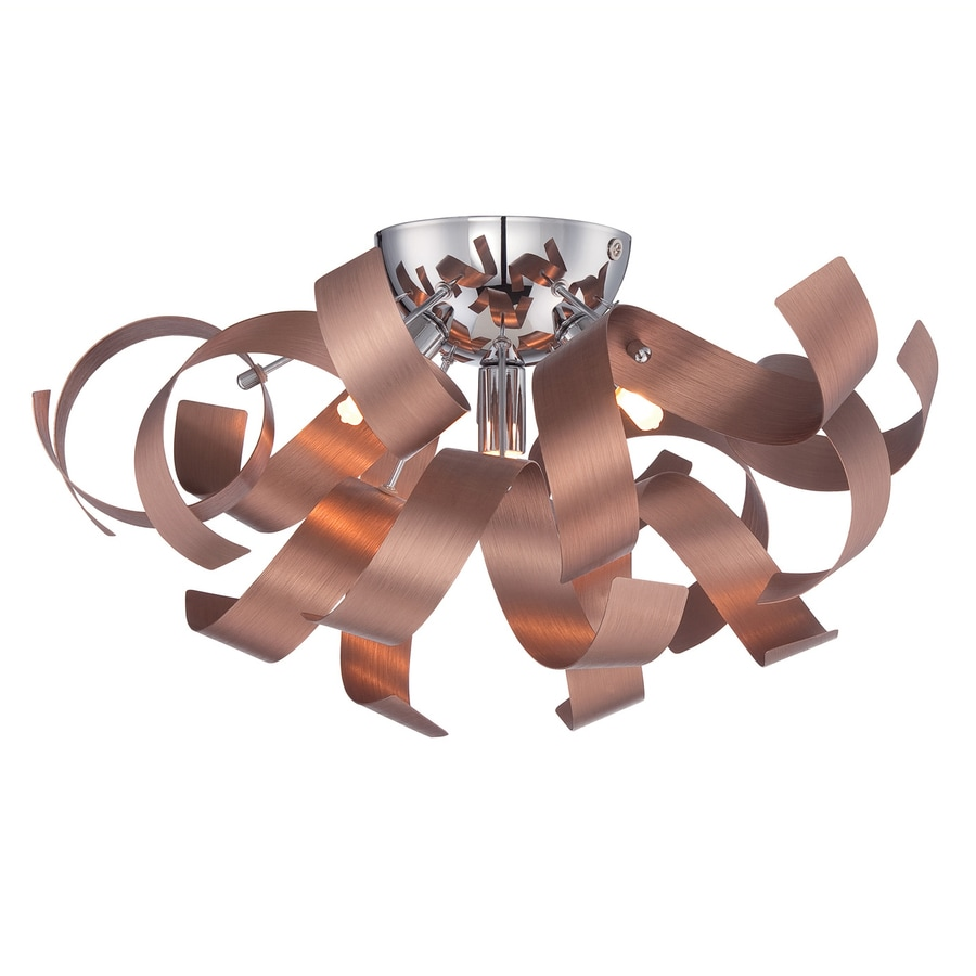 Quoizel Ribbons 16.5-in W Satin Copper Metal Semi-Flush Mount Light