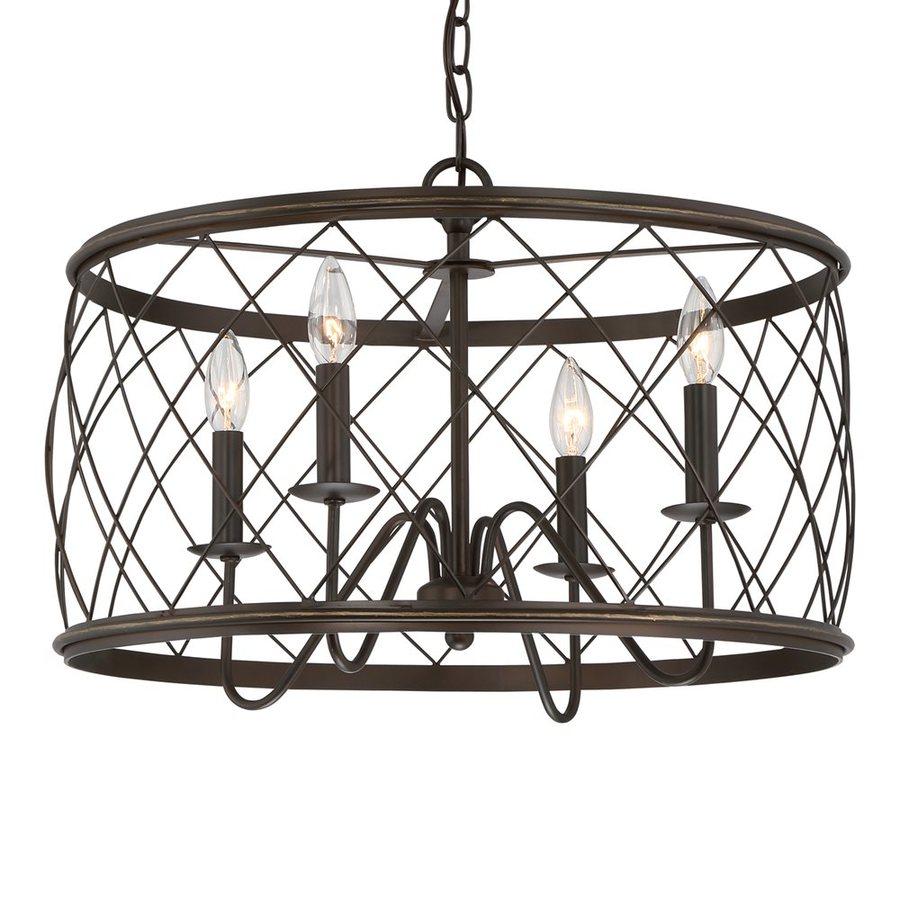 Quoizel Dury 21-in Palladian Bronze Industrial Cage Pendant