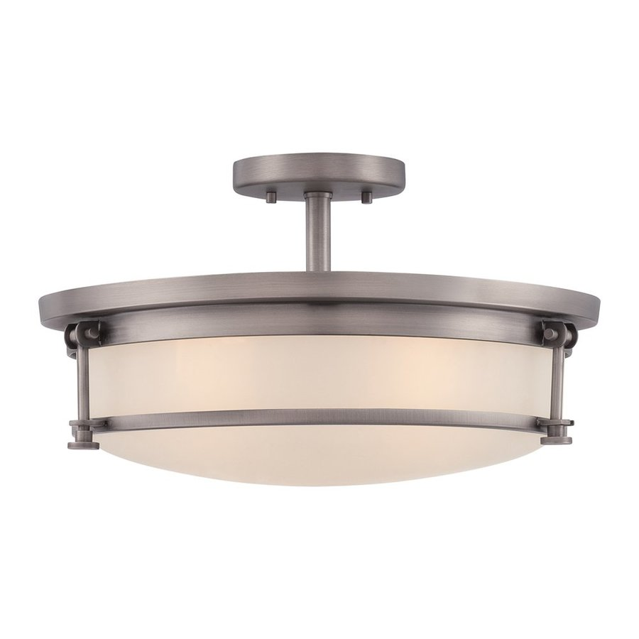 Quoizel Sailor 16-in W Antique Nickel Etched Glass Semi-Flush Mount Light
