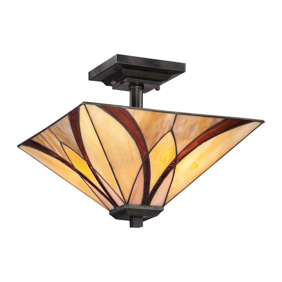 Quoizel Asheville 14-in W Valiant Bronze Stained Tiffany-Style Semi-Flush Mount Light