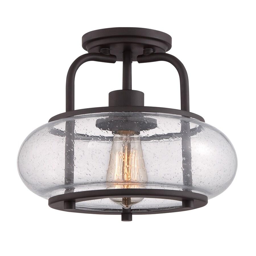 Quoizel Trilogy 12-in W Old Bronze Clear Glass Vintage Semi-Flush Mount Light