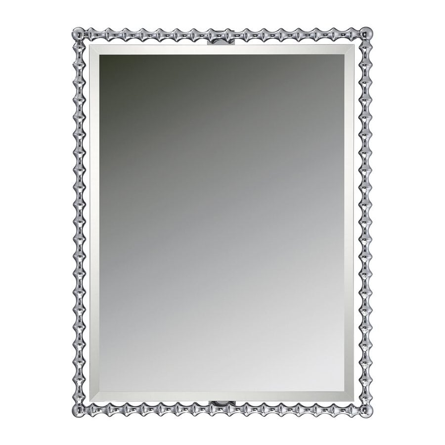 Quoizel Reflections 25.5-in x 33-in Polished Chrome Beveled Rectangle Framed Contemporary Wall Mirror
