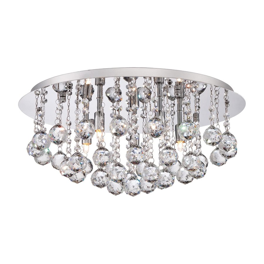 Quoizel Bordeaux 19.75-in W Polished Chrome Crystal Accent Ceiling Flush Mount Light