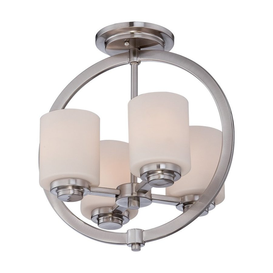 Quoizel Celestial 13-in W Brushed Nickel Etched Glass Semi-Flush Mount Light