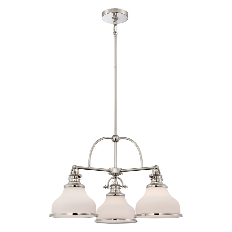 Quoizel Grant 24-in 3-Light Imperial Silver Industrial Etched Glass Shaded Chandelier