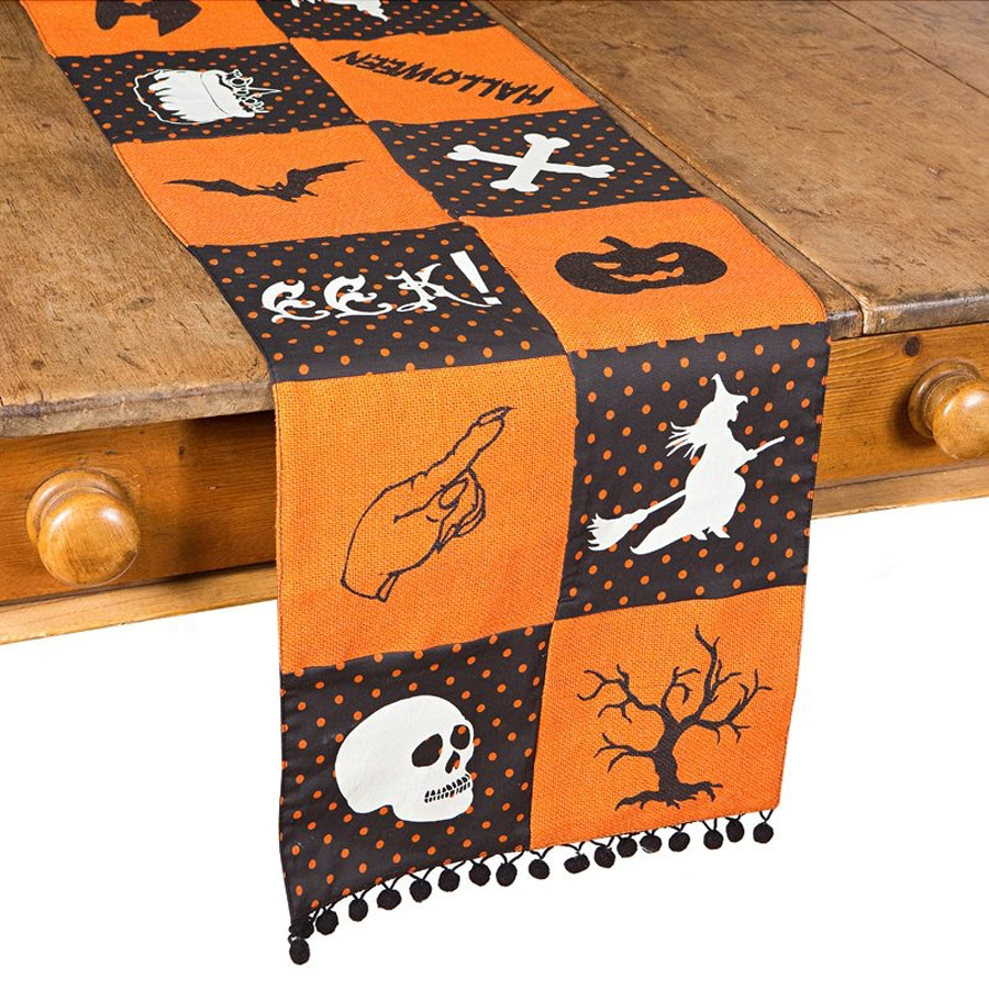XIA Home Fashions Halloween Patchwork Eek! Tabletop Table Runner