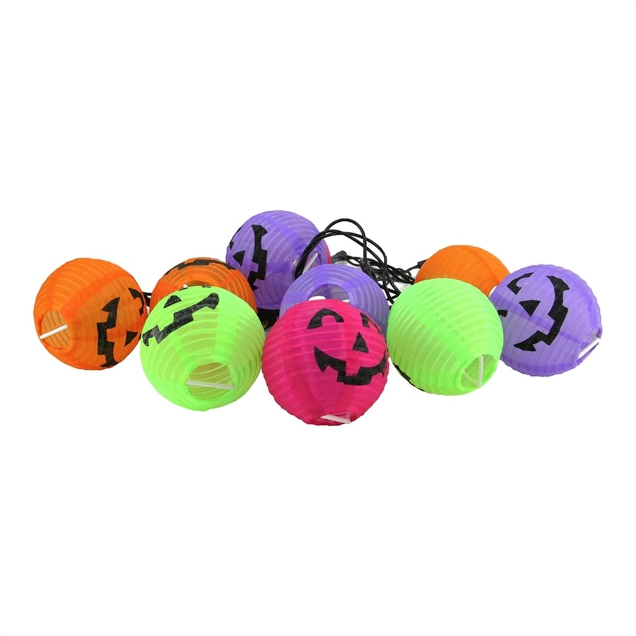 Northlight Assorted 10-Count 7.5 Feet-Ft  White Jack-O-Lantern Plug-in Halloween String Lights