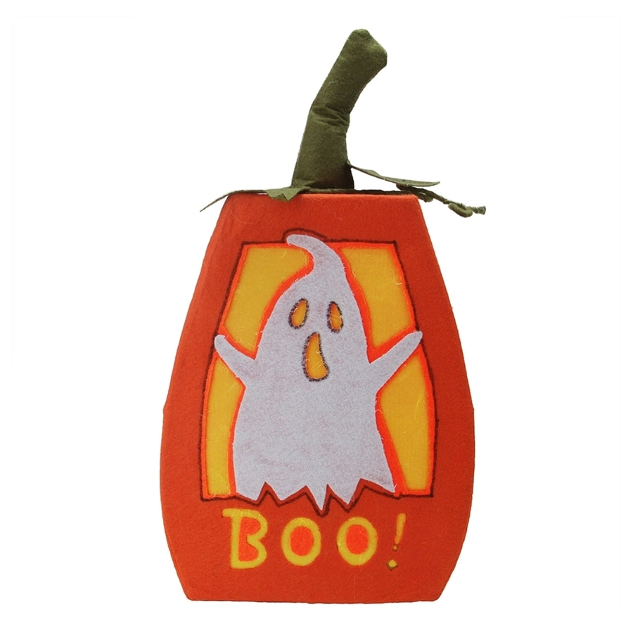 Northlight Lighted Boo Freestanding Pumpkin Figurine with Multi-Function White LED Lights