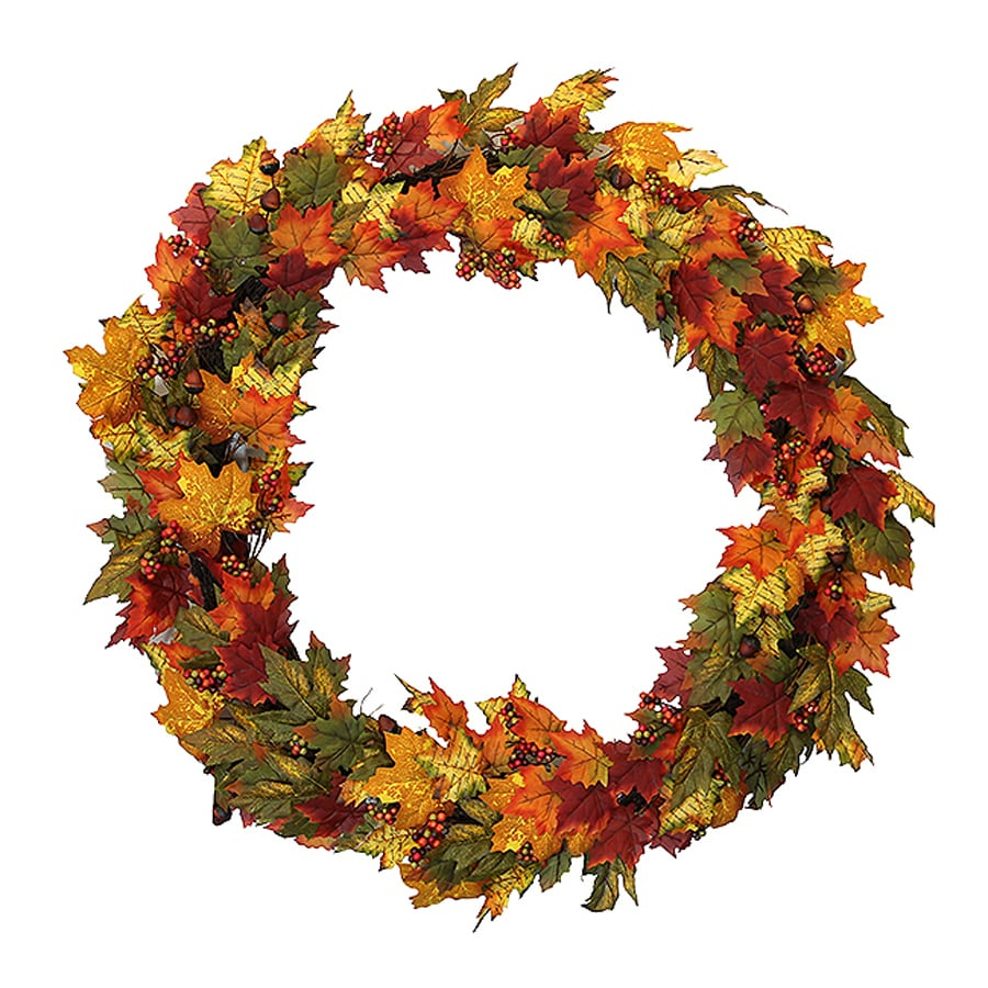 Northlight Autumn Blessings 36-in Unlit Indoor Leaf Artificial Thanksgiving Wreath