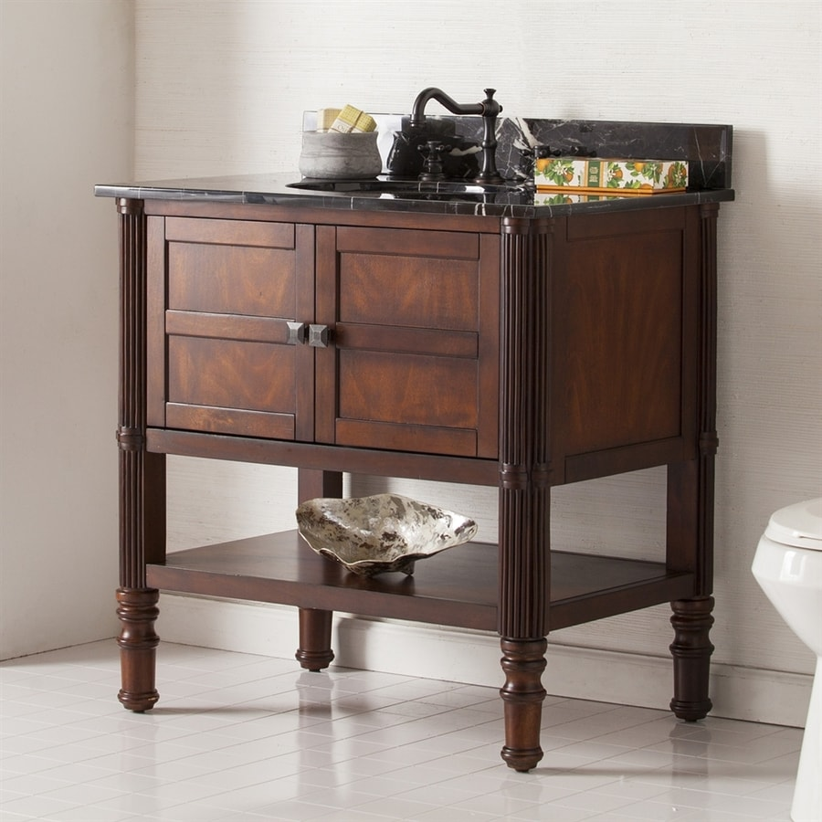 Boston Loft Furnishings Brettshire Oak Saddle Undermount Single Sink Oak Bathroom Vanity with Natural Marble Top (Common: 33-in x 22-in; Actual: 33-in x 22-in)