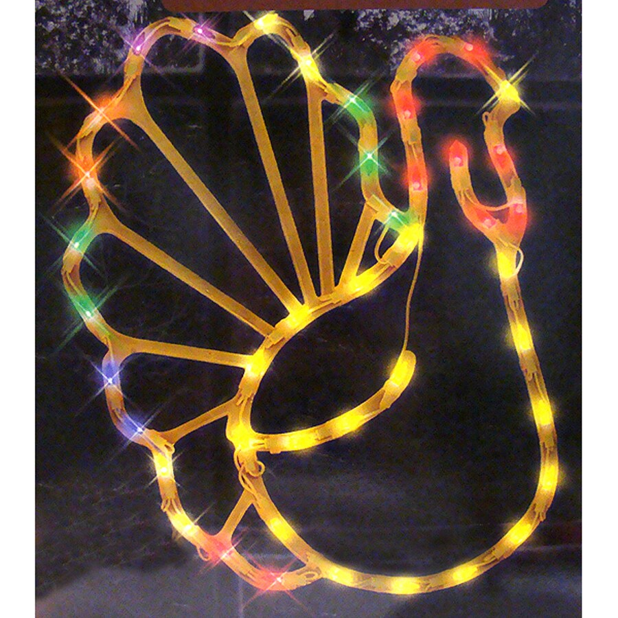 Northlight Turkey Window Cling with Yellow Incandescent Lights