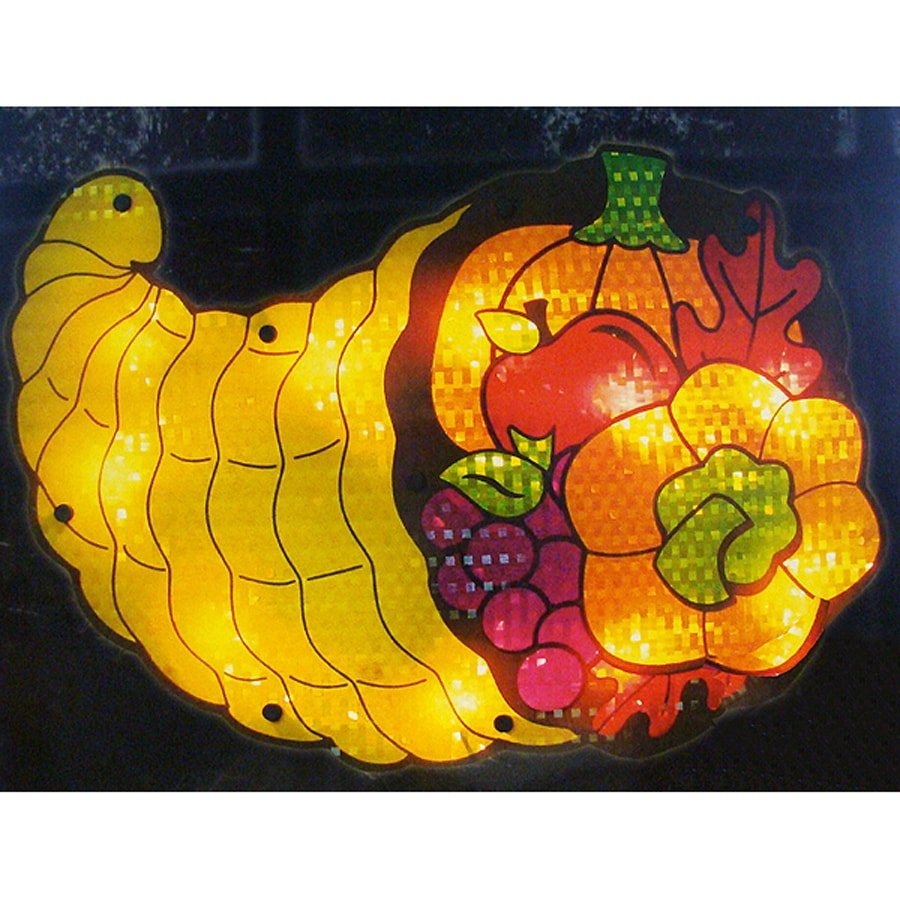 Northlight Cornucopia Window Cling with Clear Incandescent Lights