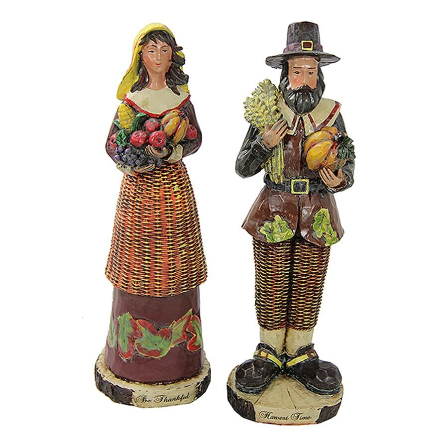 Northlight 2-Piece Resin Pilgrim Figurine Indoor Thanksgiving Decoration Set