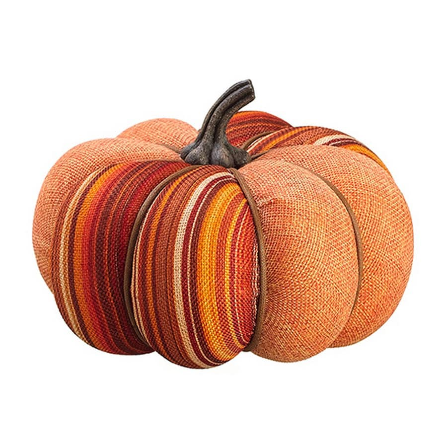 Northlight Orange Fabric Pumpkin Figurine Indoor Thanksgiving Decoration