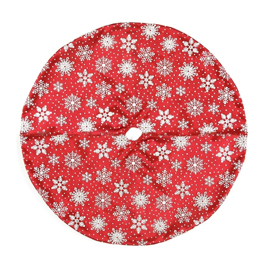 Northlight 20-in Red Polyester Snowflake Christmas Tree Skirt