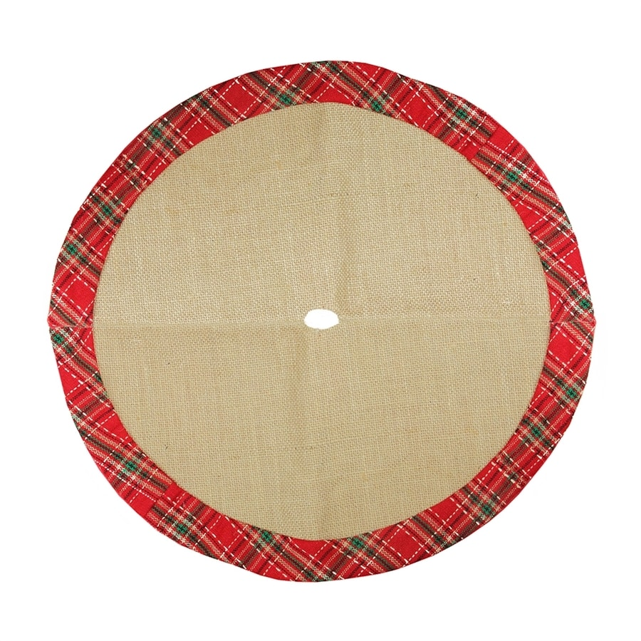 Northlight 20-in Brown Polyester Plaid Christmas Tree Skirt