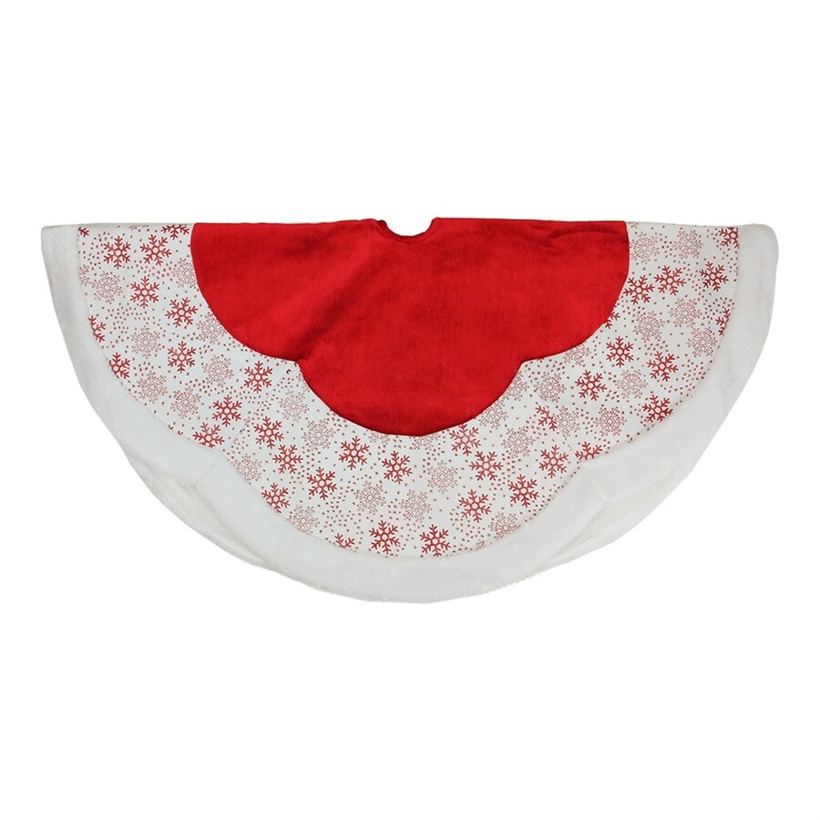 Northlight 48-in Red Polyester Snowflake Christmas Tree Skirt