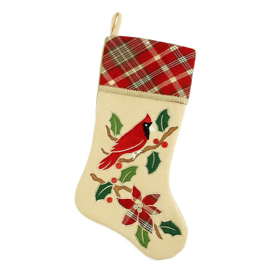 Northlight Country Cabin 20.5-in Off-White Animals Christmas Stocking