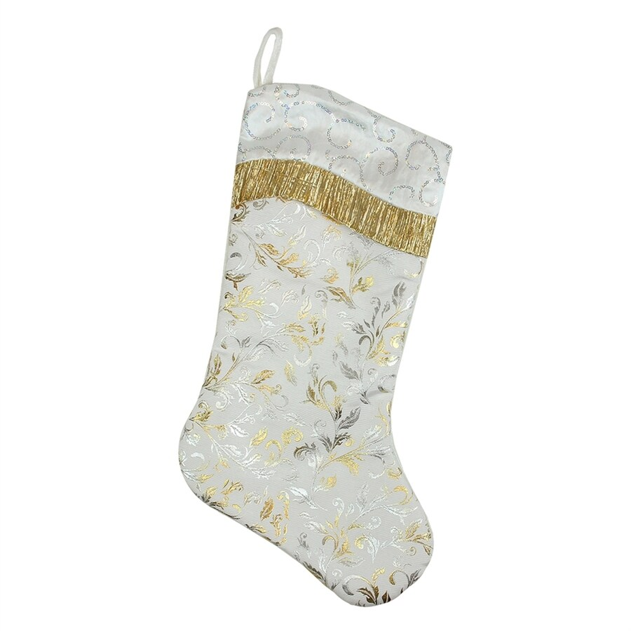 Northlight 20.5-in White with Metallic Silver and Gold Flourish Christmas Stocking