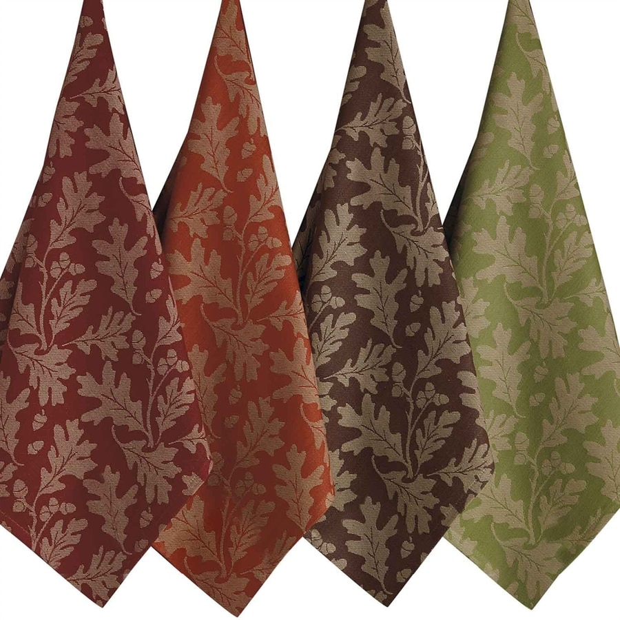Design Imports 4-Piece Leaves Dish Towel Indoor Thanksgiving Decoration