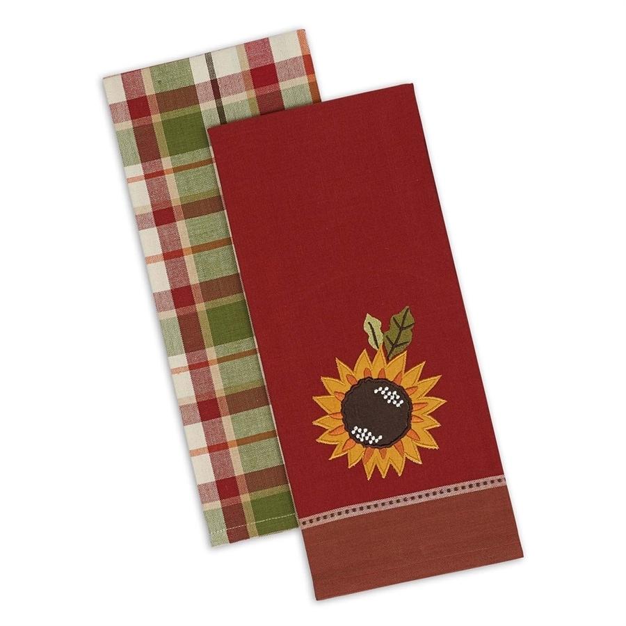 Design Imports 4-Piece Sunflowers Dish Towel Indoor Thanksgiving Decoration