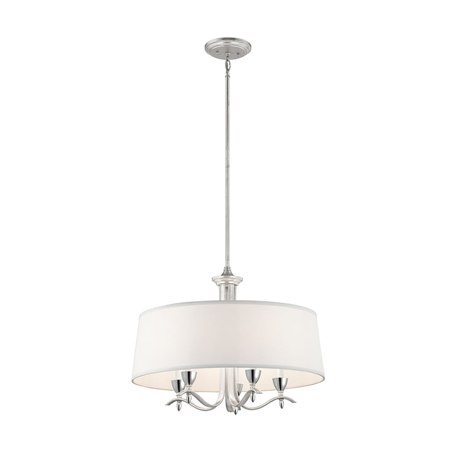 Kichler Lighting Cordova 24-in 5-Light Silver Leaf Country Cottage Drum Chandelier