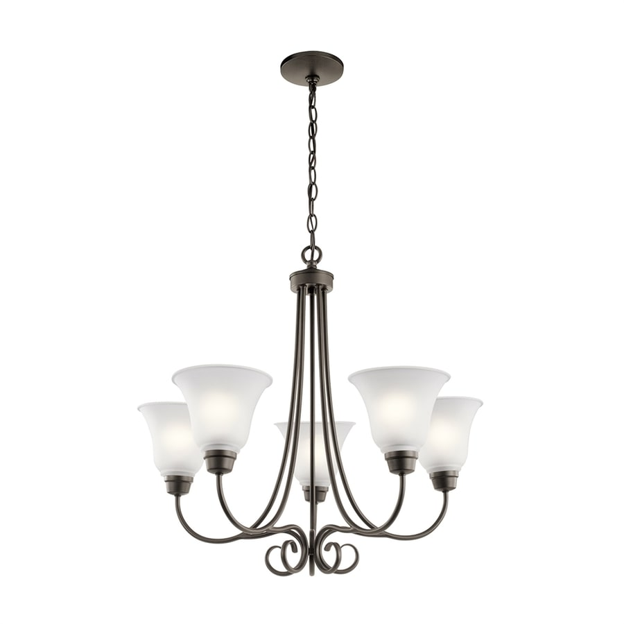 Kichler Lighting Bixler 25.5-in 5-Light Olde Bronze Country Cottage Etched Glass Shaded Chandelier