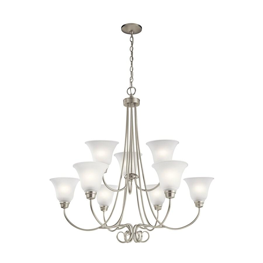 Kichler Lighting Bixler 35.25-in 9-Light Brushed Nickel Country Cottage Etched Glass Tiered Chandelier