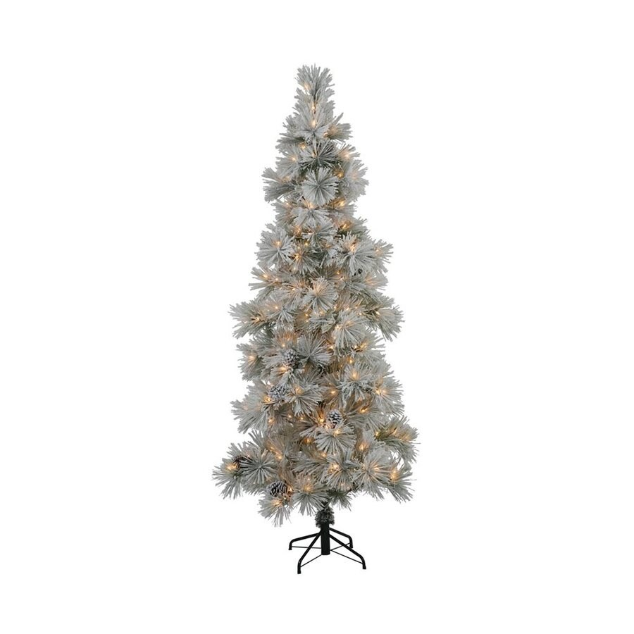 Shop vickerman 8 ft pre lit stone pine slim flocked for Artificial christmas decoration tree