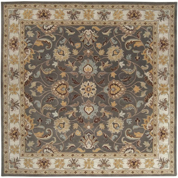 Surya Caesar 10 X 10 Charcoal Square Indoor Border Oriental Handcrafted Area Rug In The Rugs Department At Lowes Com