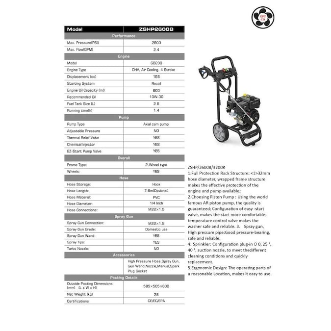 2600-PSI 2.4-GPM Cold Water Gas Pressure Washer with Oem