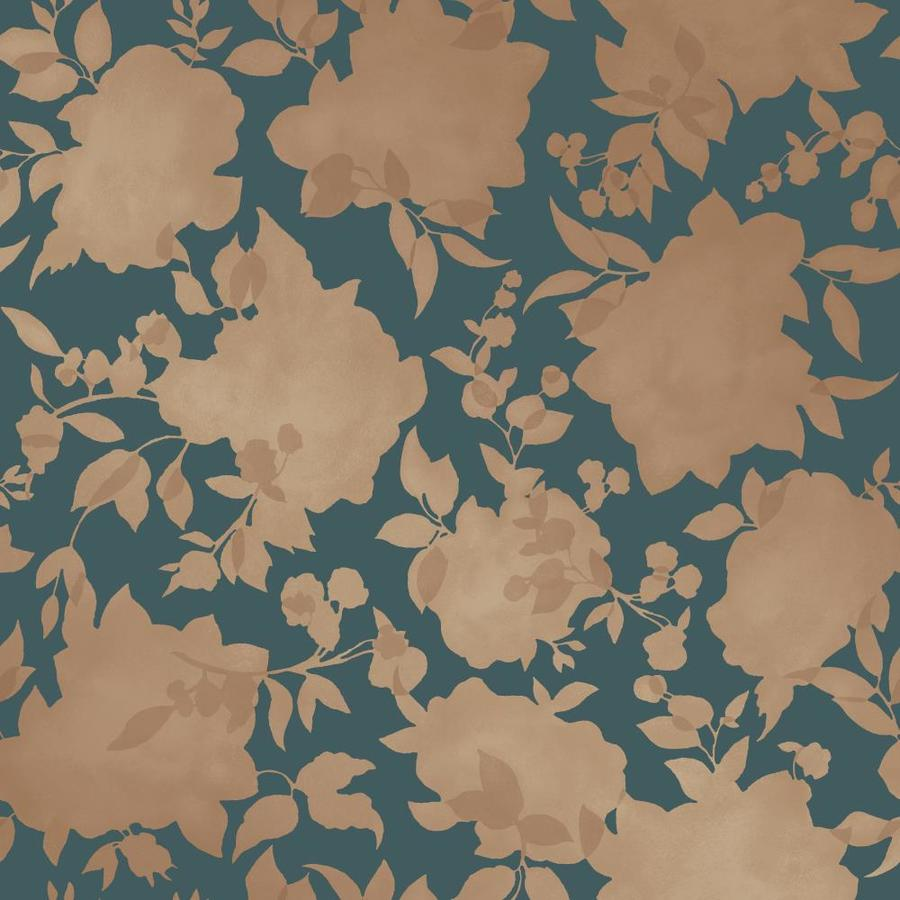 Tempaper 56 Sq Ft Peacock Blue And Gold Vinyl Floral Self Adhesive Peel And Stick Wallpaper In The Wallpaper Department At Lowes Com