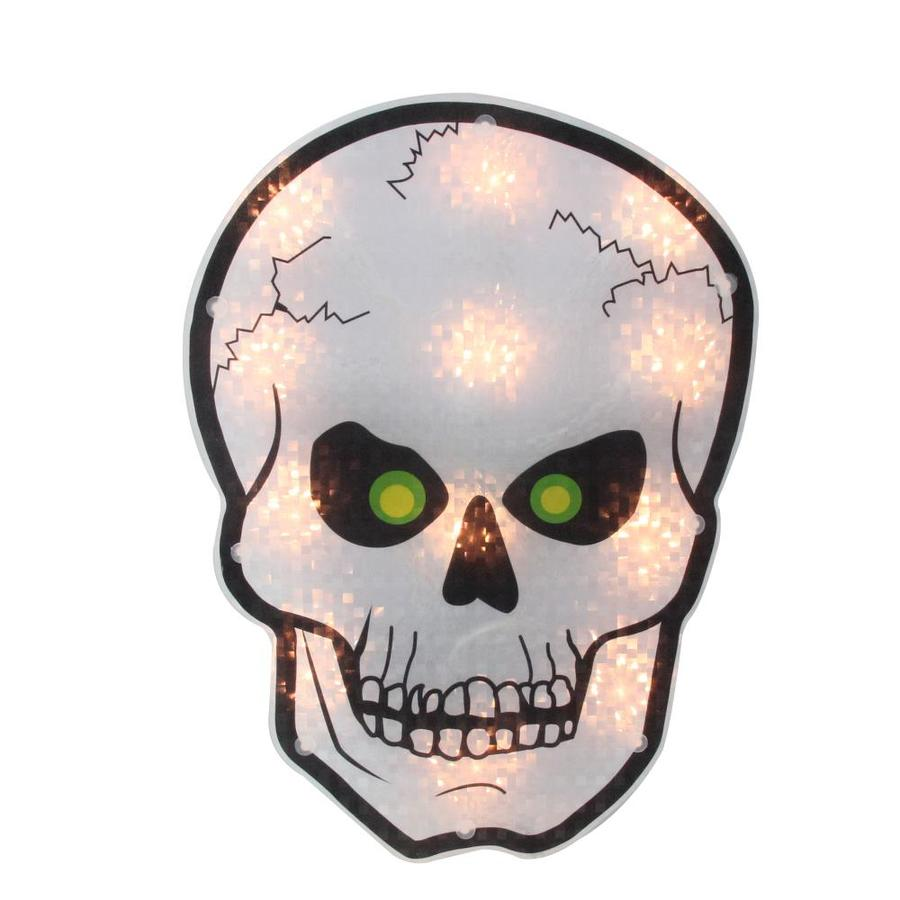 Northlight 12 in Holographic Lighted Skull Halloween Window Silhouette Decoration