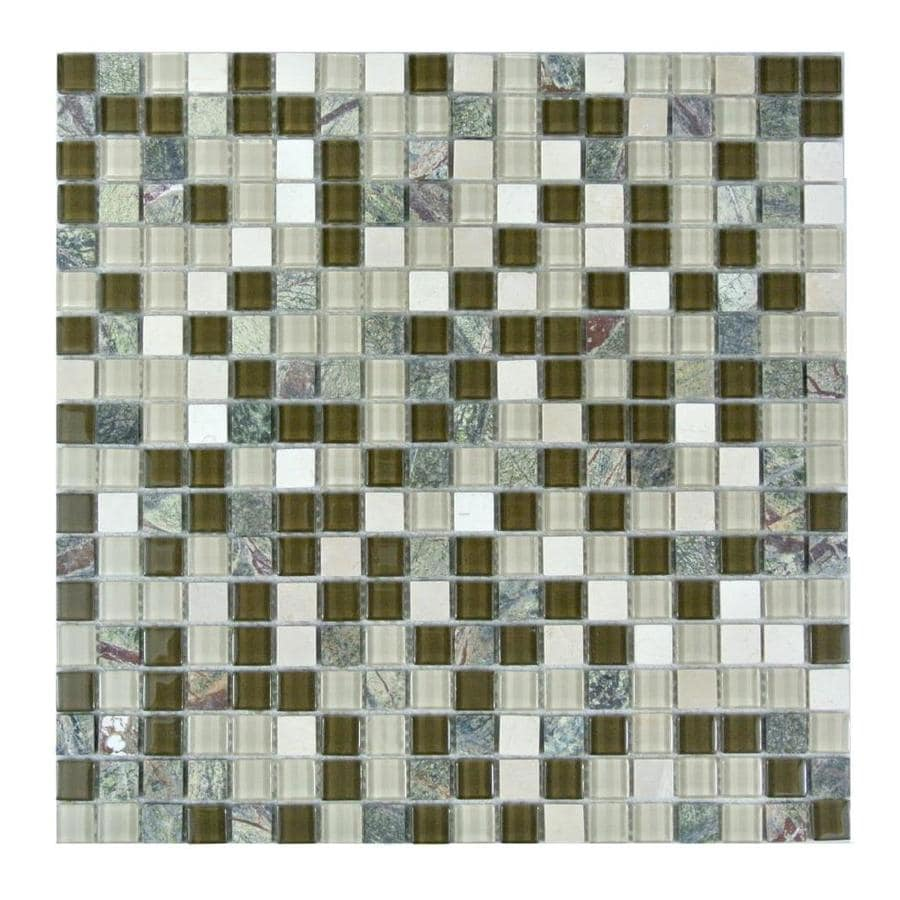 MTO0269 Contemporary Uniform Squares Brown Orange Yellow Glass Stone Mosaic Tile