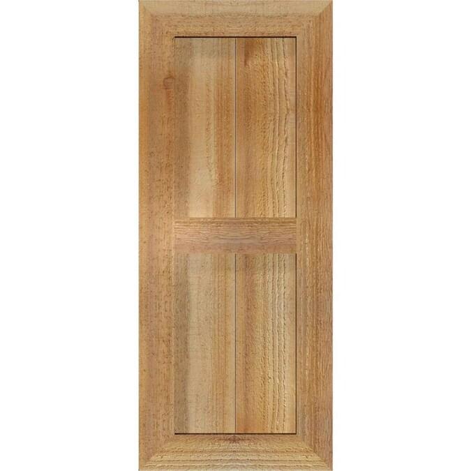 Ekena Millwork EB0110500X031000WRW Exterior Western Red Cedar Three Board Two Batten Board-n-Batten Shutters Per Pair 10 1//2W x 31H Country Redwood