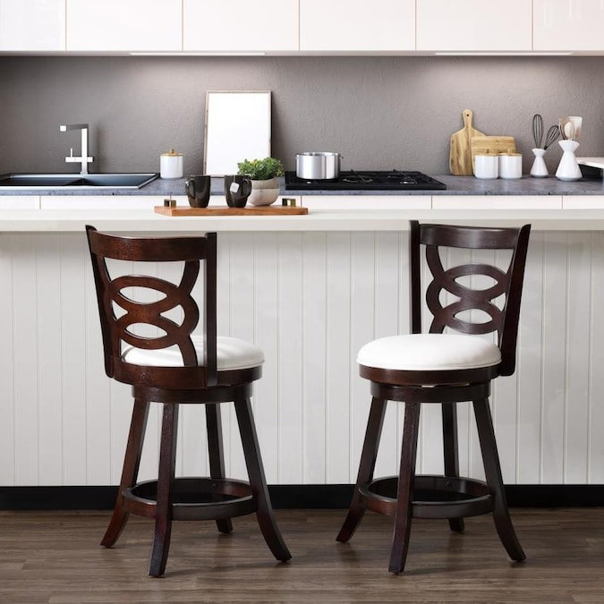 CorLiving Woodgrove Espresso, White Counter Upholstered ...
