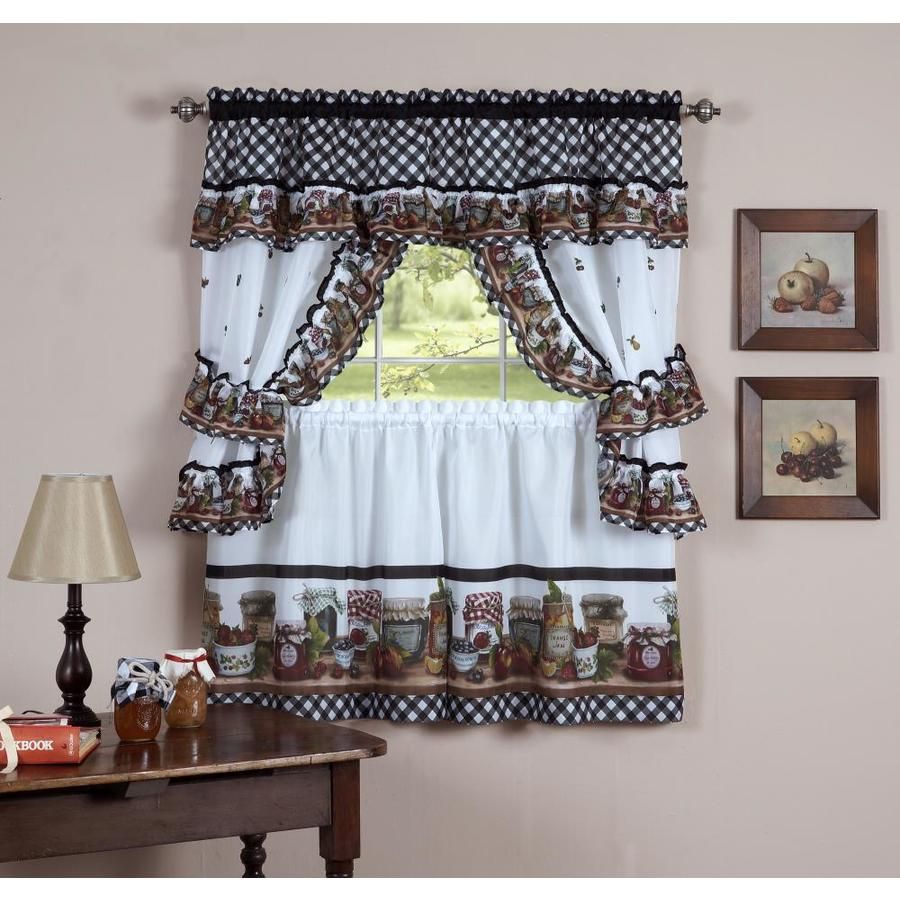 Achim Mason Jars 24 In Black White Polyester Rod Pocket Valance And Tier Set The Valances Department At Lowes Com