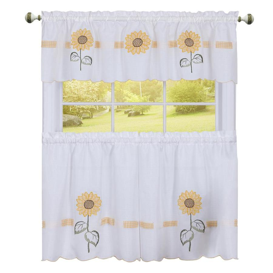 Achim Home Furnishings Sun Blossoms Embellished Tier and Valance Window Curtain Set 56 x 24 Multi SBTV24YL12