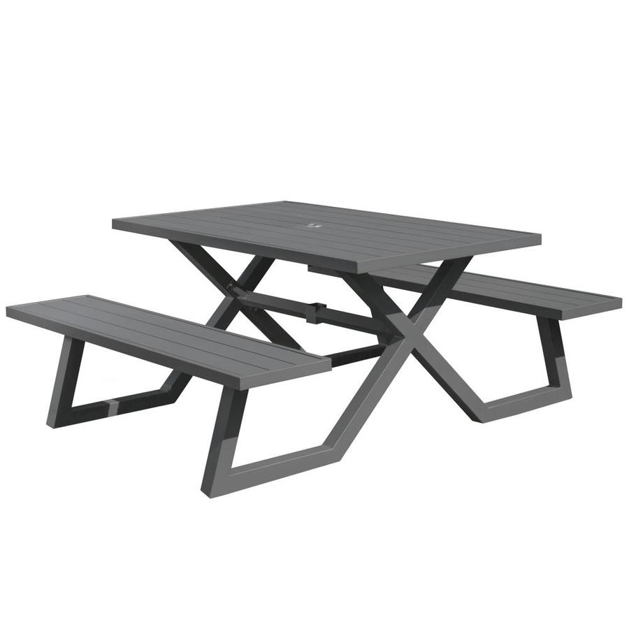Stainless Steel Bathroom Vanity Cabinet, Vivere 60 In Gray Cast Aluminum Rectangle Picnic Table In The Picnic Tables Department At Lowes Com