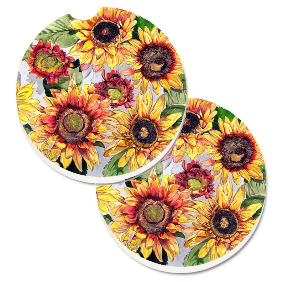 Farm Sunflowers You are My Sunshine Black Backdrop Car Cup Holder Coasters Set of 4 Absorbent Ceramic Stone Drink Coaster with A Finger Notch for Easy Removal of Auto Cupholder